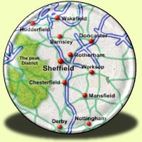 Map showing Sheffield, Worksop, Rotherham, Huddersfield, Derby, Wakefield, Doncaster, Mansfields, Nottingham, Chesterfield, Retford and Barnsley.