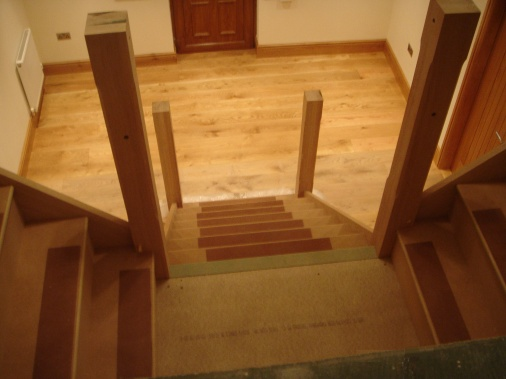 Construction of bespoke oak staircase
